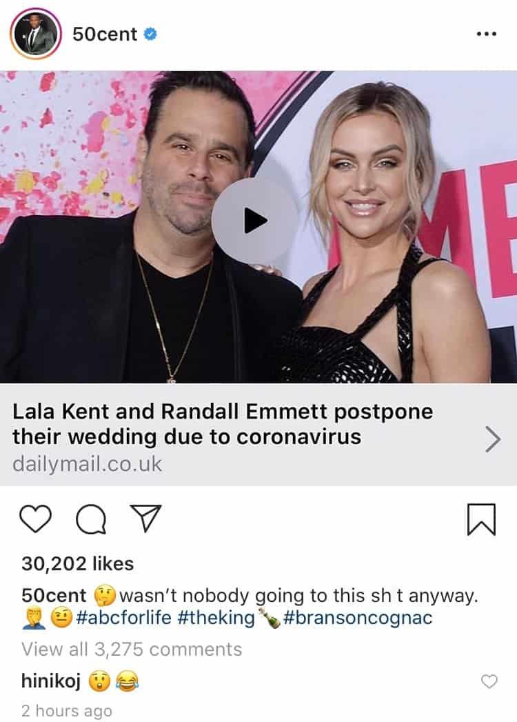 50 Cent trolls Lala Kent and Randall Emmett over wedding