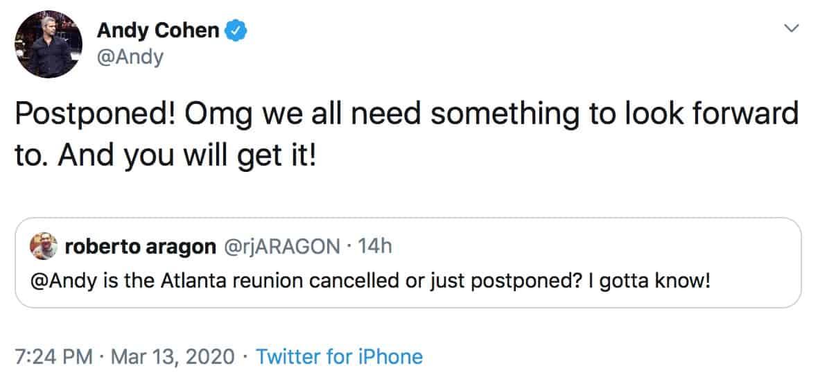 Andy Cohen Confirms RHOA Reunion Has Been Postponed