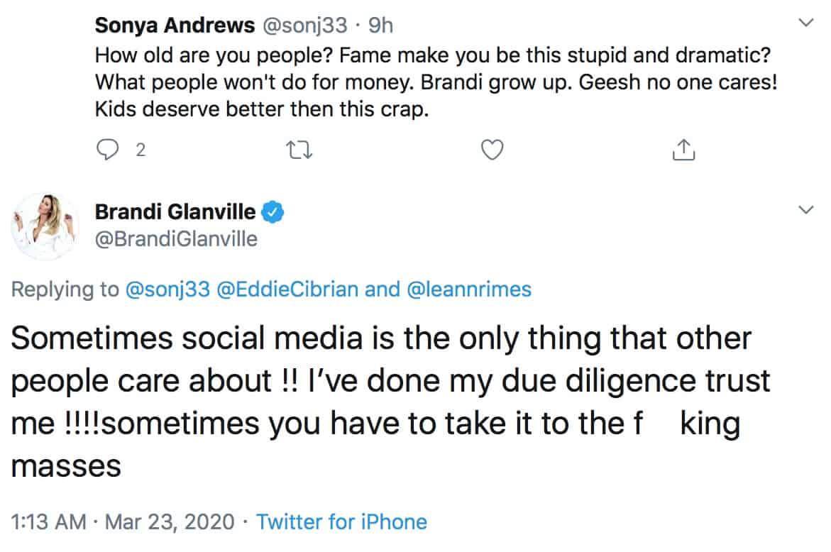 RHOBH Brandi Glanville Explains Publicly Calling Out Eddie Cibrian Amid Custody Dispute