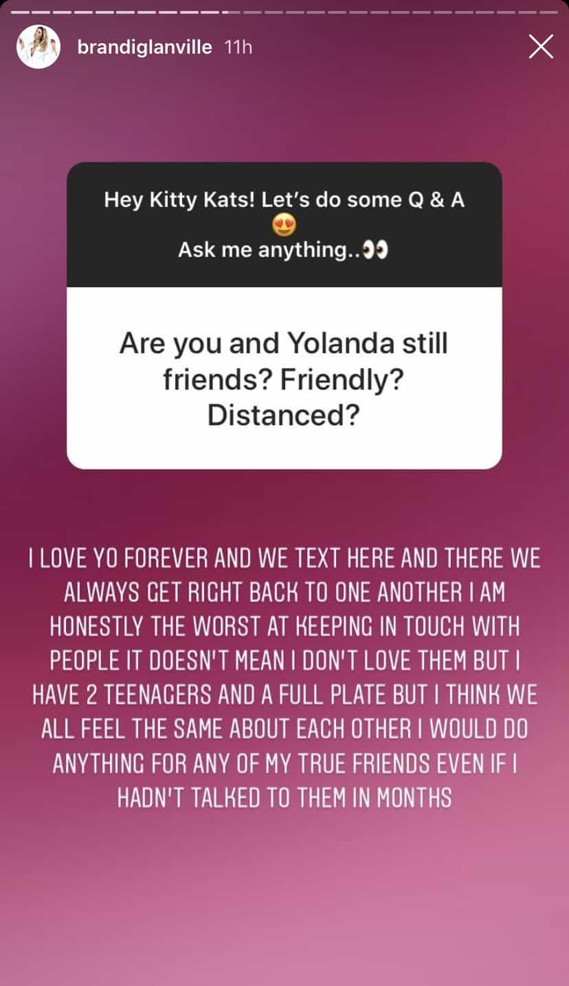 RHOBH Brandi Glanville Offers Update on Friendship With Yolanda Hadid