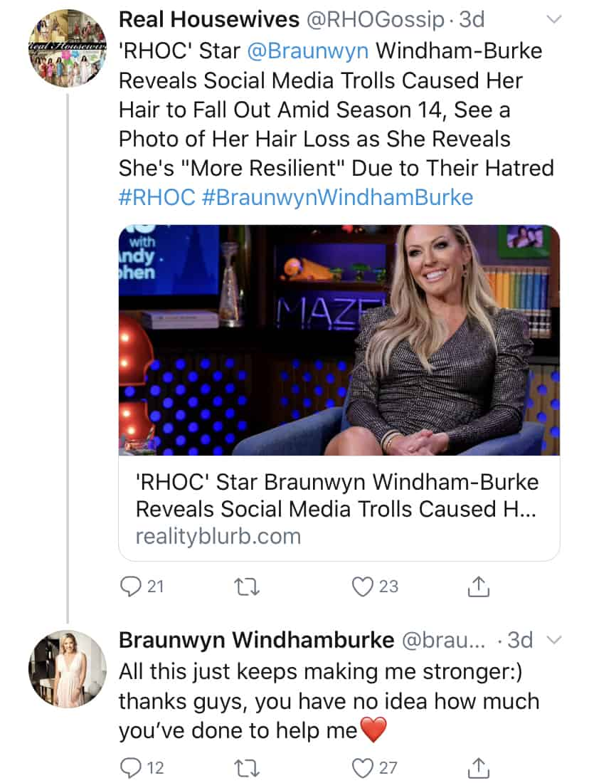 RHOC Braunwyn Windham Burke Claims Fans Are Making Her Stronger