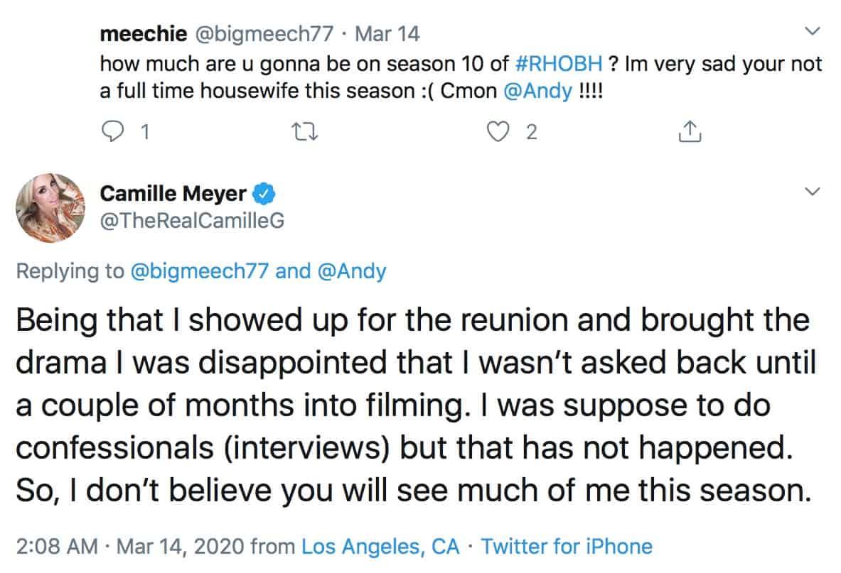 Camille Grammer Won't Be Seen Much on RHOBH Season 10
