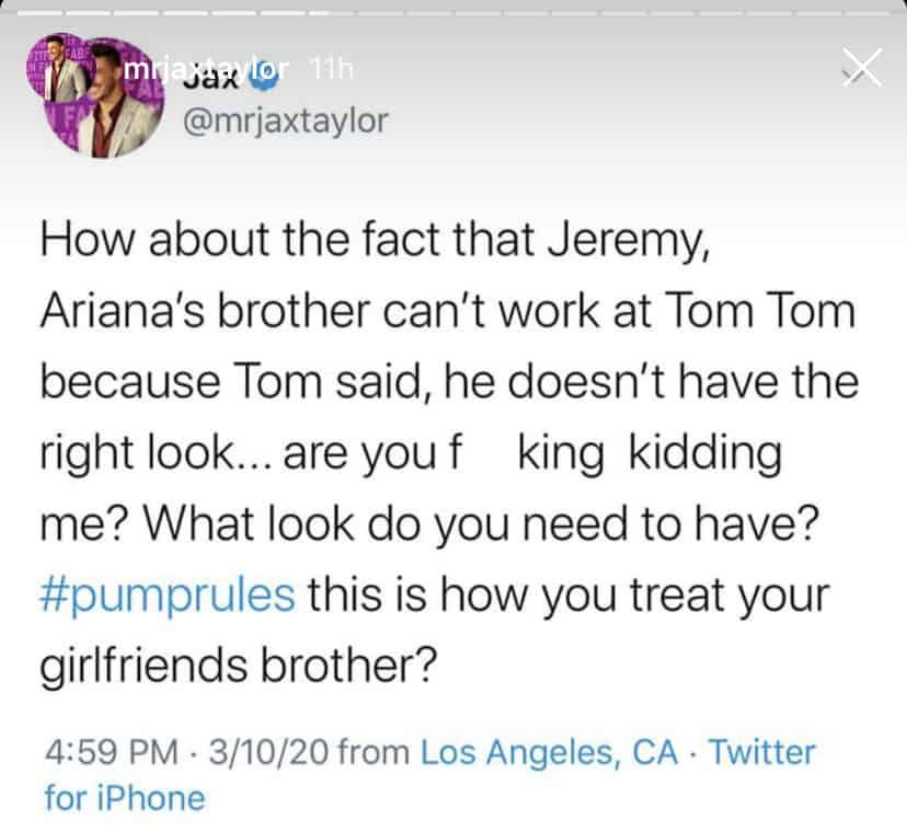 Vanderpump Rules Jax Taylor Claims Tom Sandoval Won't Hire Jeremy Madix at TomTom Because of His Looks