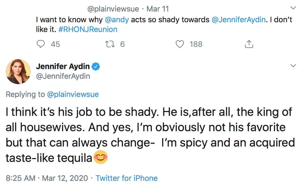 RHONJ Jennifer Aydin Says It is Andy Cohen's Job to Be Shady