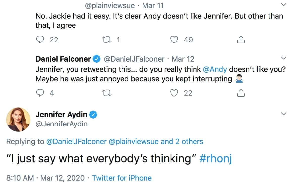 RHONJ Jennifer Aydin Thinks Andy Cohen Doesn't Like Her