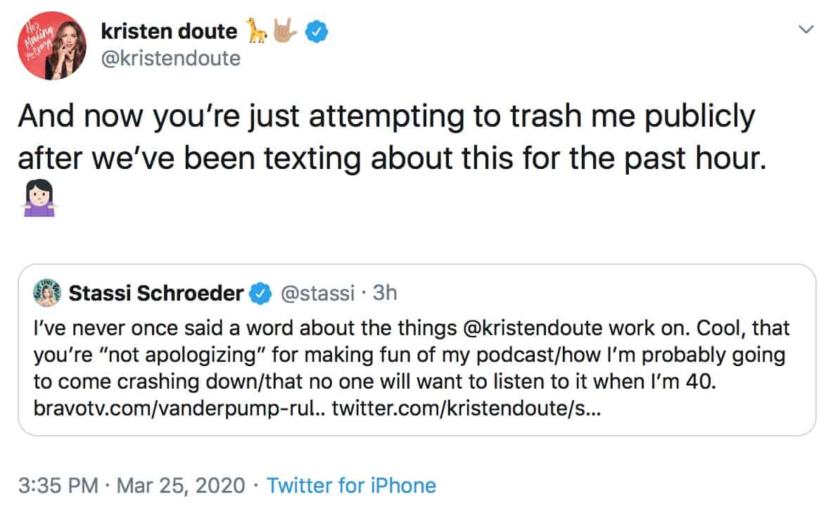 Vanderpump Rules Kristen Doute Slams Stassi Schroeder for Trashing Her on Twitter