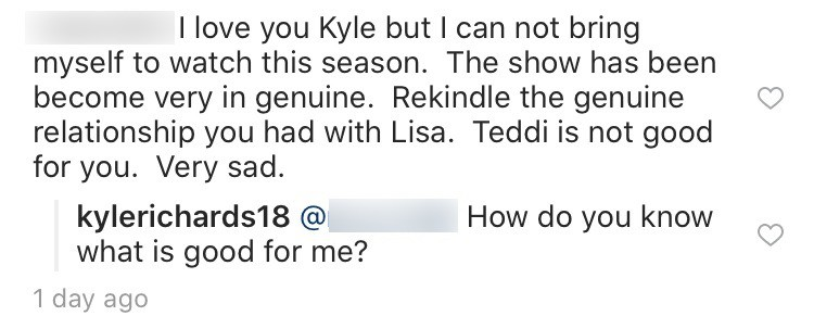 Kyle Richards responds to Teddi comment