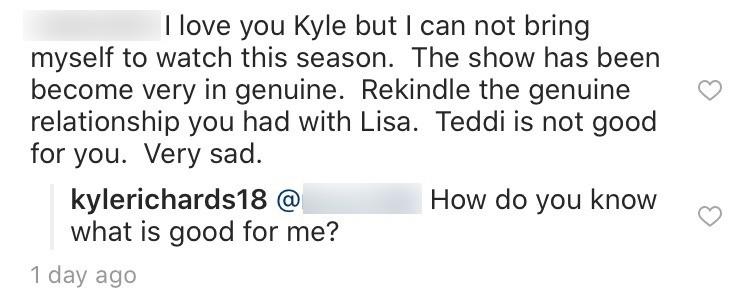 Kyle Richards responds to Teddi comment