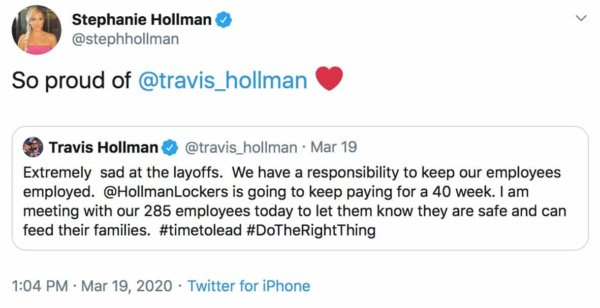 RHOD Stephanie Hollman is So Proud of Travis for Paying Employees of Locker Business
