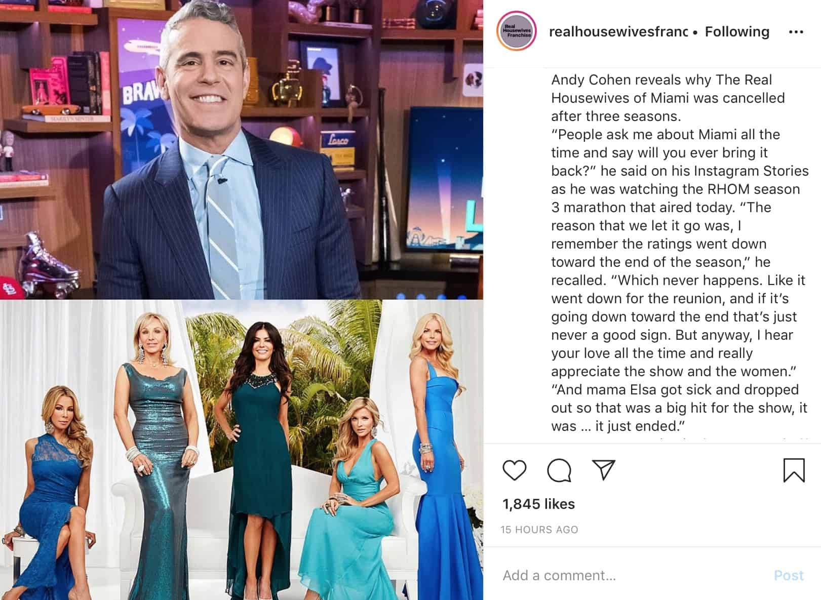 Andy Cohen Explains Why RHOM Was Canceled