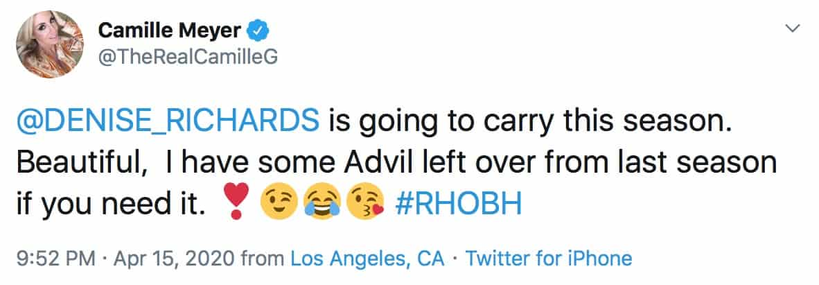 Camille Grammer Claims Denise Richards Will Carry RHOBH Season 10