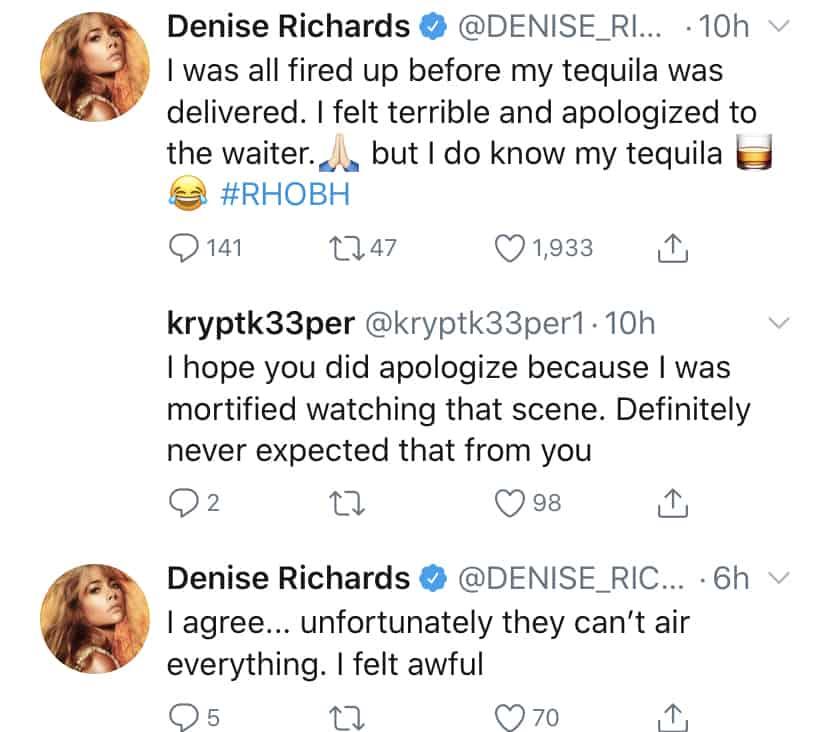 Denise Richards Defends Treatment of Waiter on RHOBH