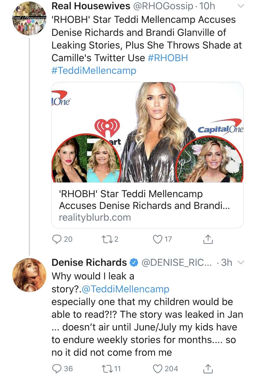 RHOBH Denise Richards Denies Teddi Mellencamp's Claim That She Leaked Stories About Alleged Affair