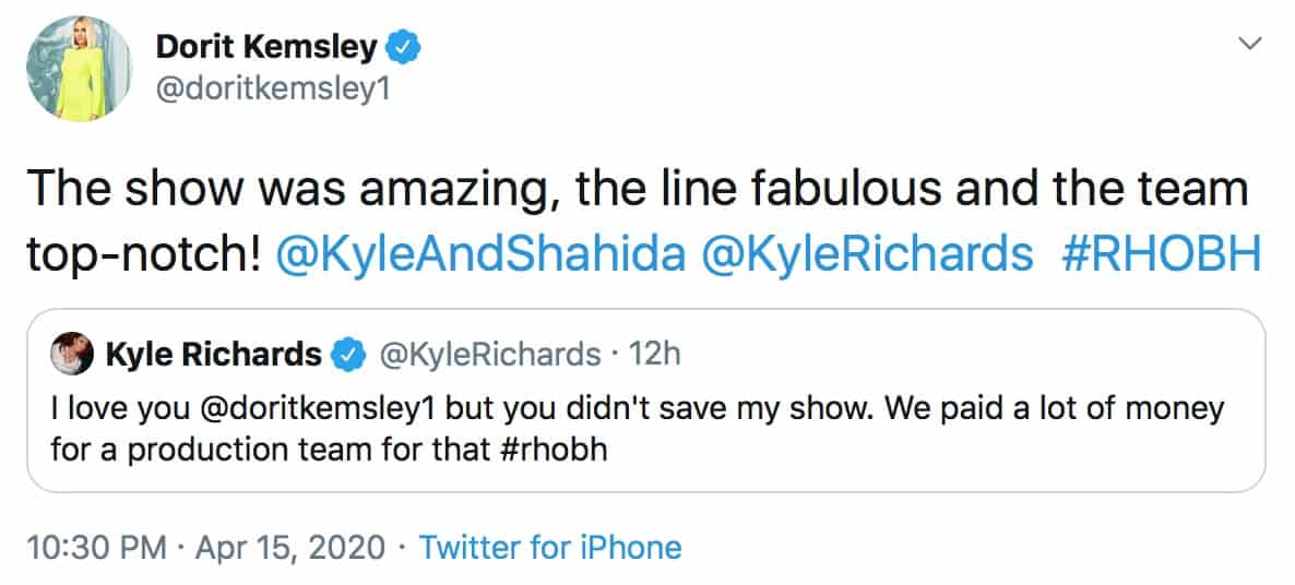 RHOBH Dorit Kemsley Says Kyle Richards' Fashion Show Was Amazing