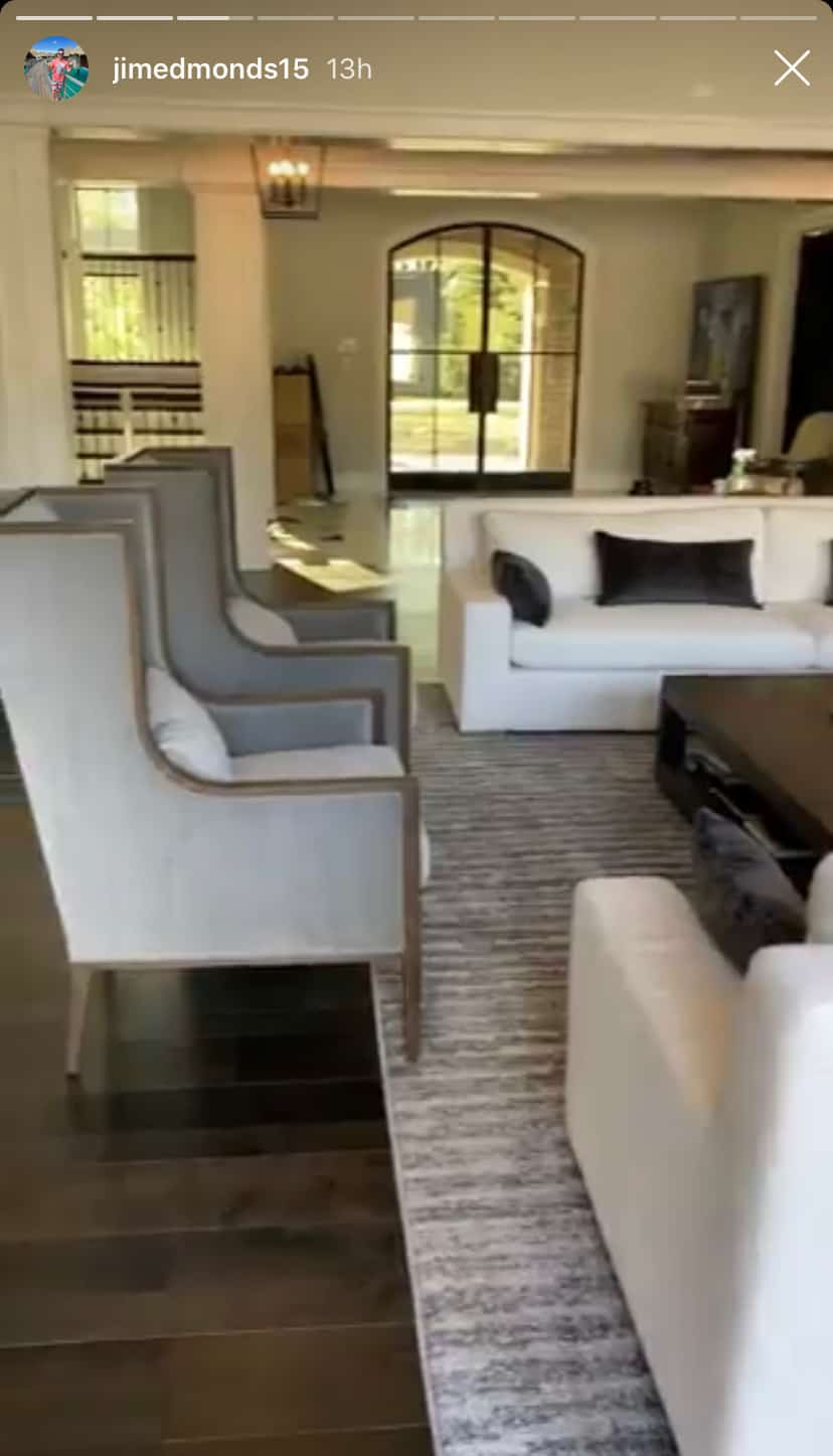 RHOC Jim Edmonds Living Room Has A Two-Story Ceiling
