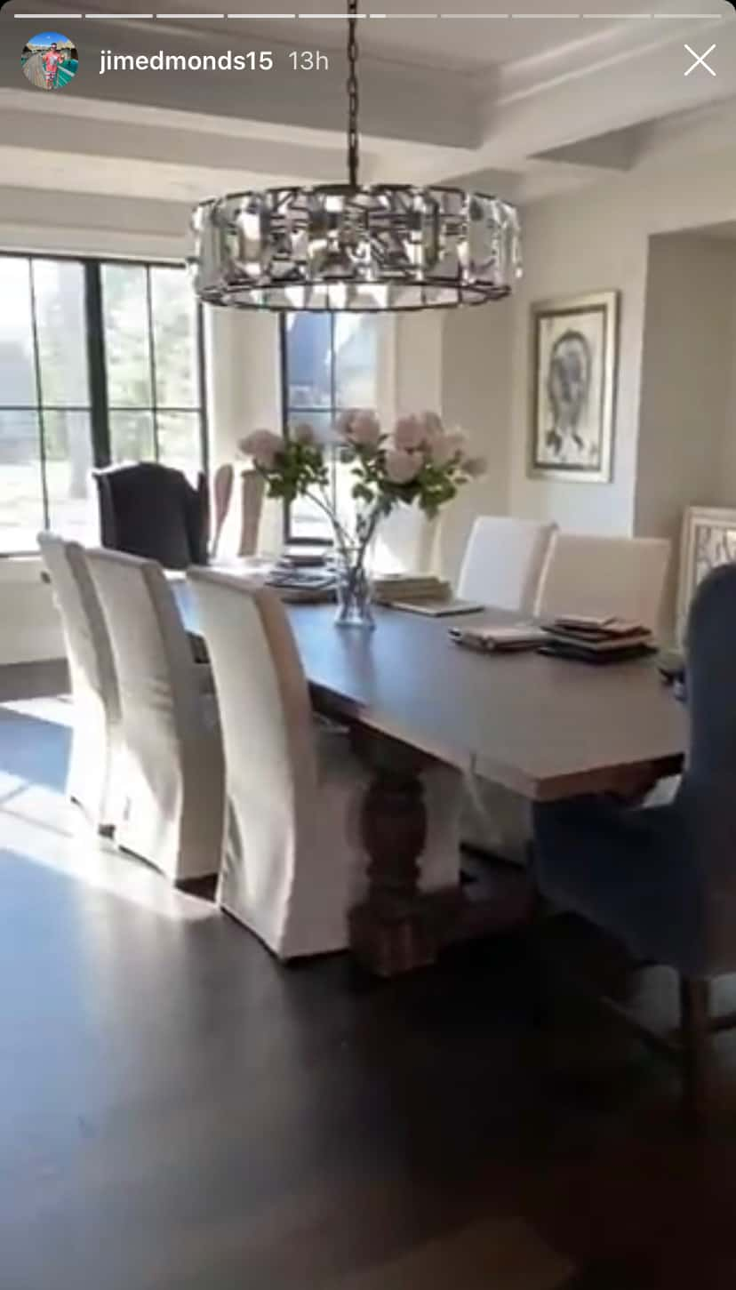Jim Edmonds Shares Video of Dining Room