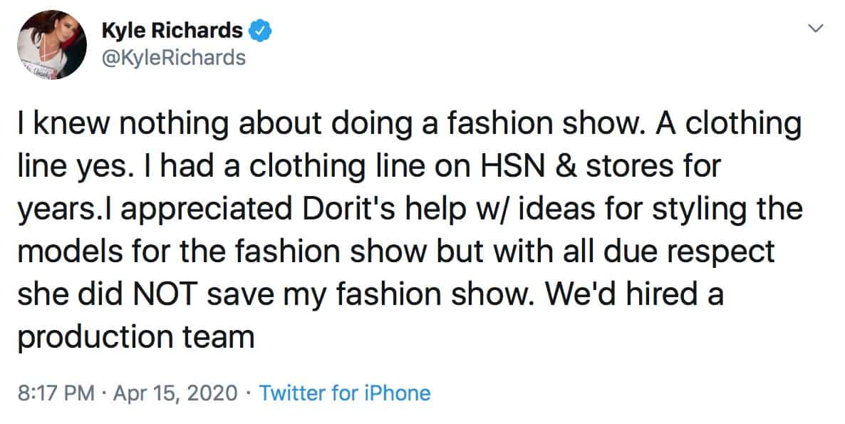 RHOBH Kyle Richards Appreciated Dorit Kemsley's Styling Assistance