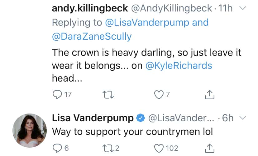 RHOBH Lisa Vanderpump Reacts to Crown Diss on Twitter