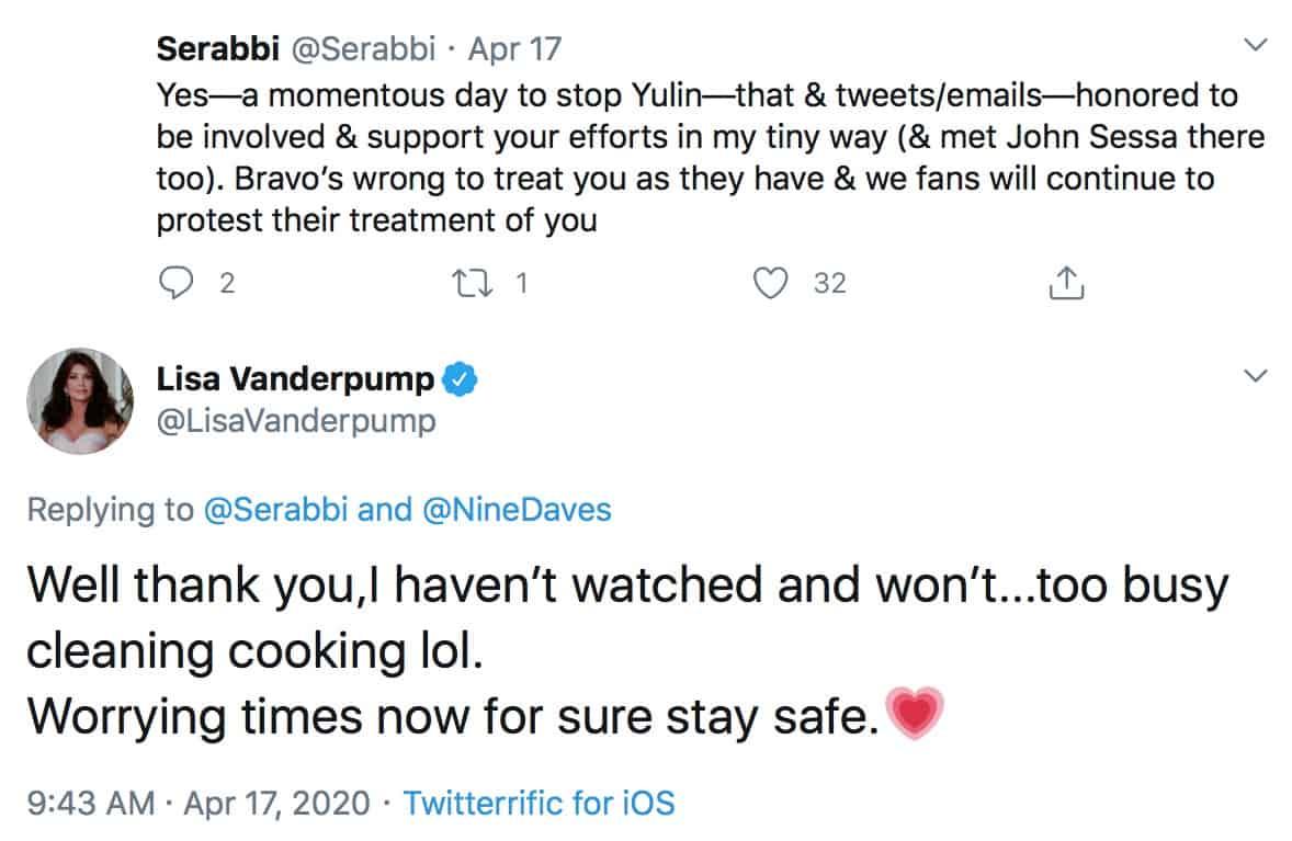 Lisa Vanderpump Reveals She is No Longer Watching RHOBH