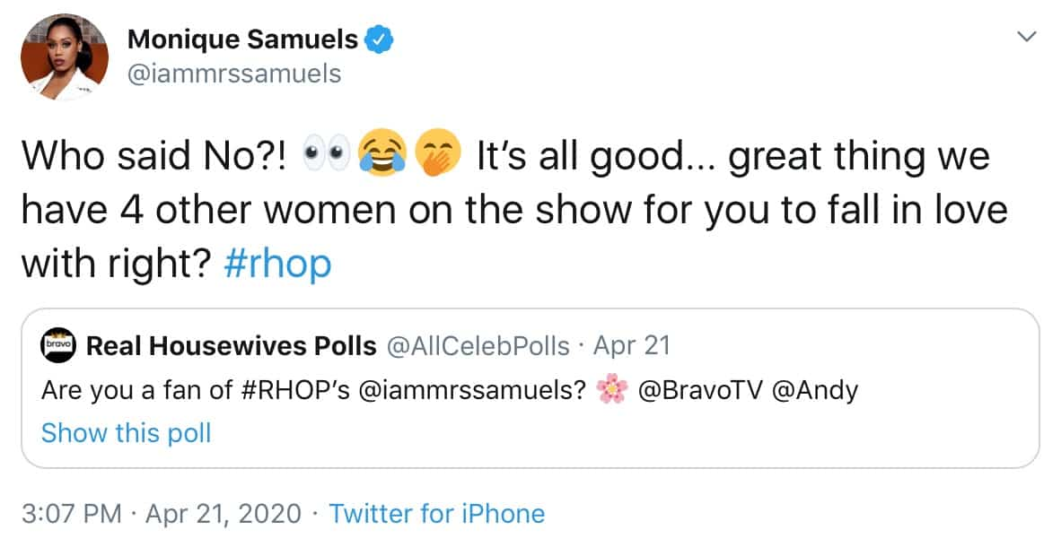 RHOP Monqiue Samuels Disses Candiace Dillard and Gizelle Bryant on Twitter