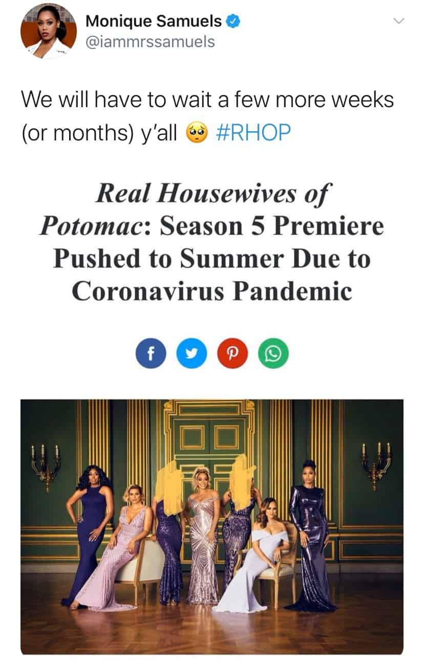 Monqiue Samuels Shades Candiace Dillard and Gizelle Bryant With RHOP Cast Photo