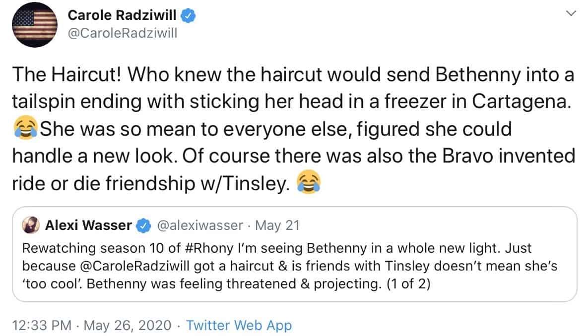 Carole Radziwill shades Bethenny and Bravo on Twitter