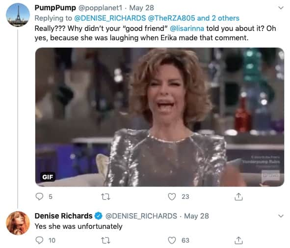 RHOBH Denise Richards Shades Lisa Rinna for Laughing at Erika Jayne's Joke About Daughter