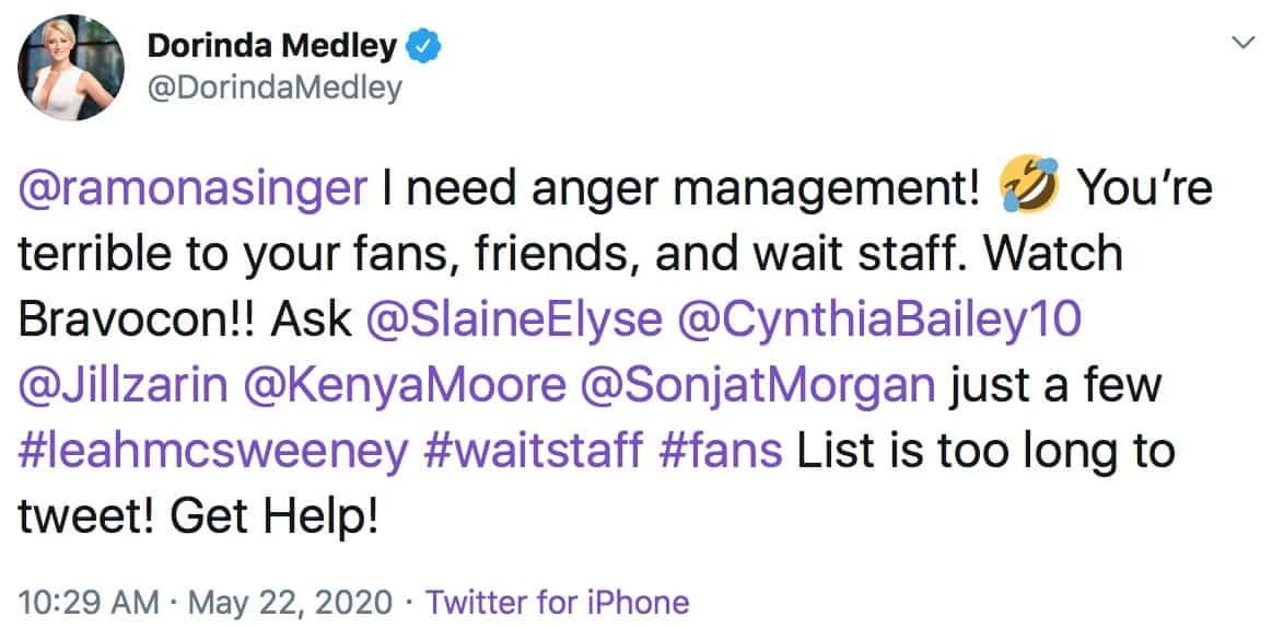 RHONY Dorinda Medley Accuses Ramona Singer of Poor Treatment of Fans