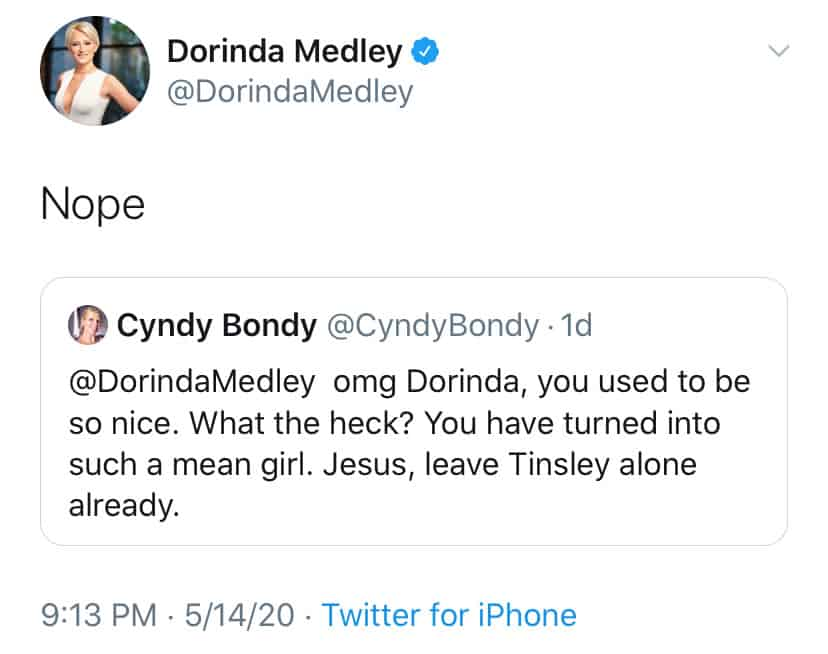 RHONY Dorinda Medley Denies Being a Mean Girl