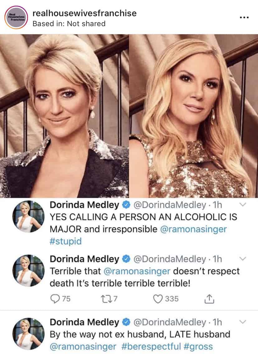 RHONY Dorinda Medley Slams Ramona Singer for Calling Leah McSweeney an Alcoholic