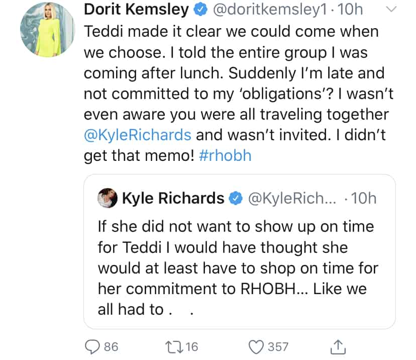 RHOBH Dorit Kemsley Claims She Wasn't Invited to Travel With Cast to Teddi Mellencamp's Event