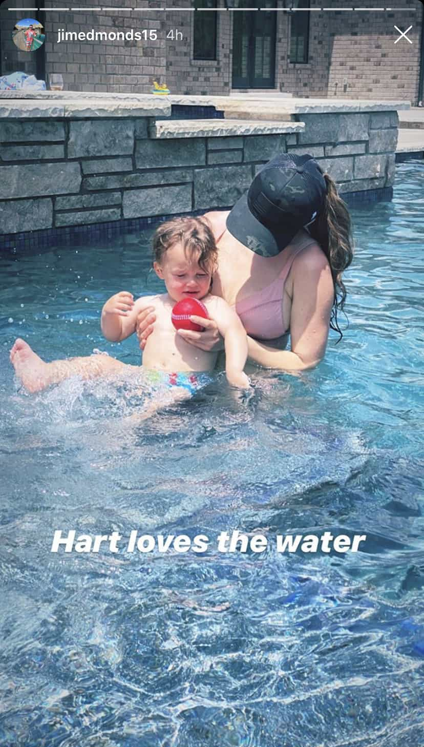 Kortnie O'Connor Holds Hart Edmonds in His Pool