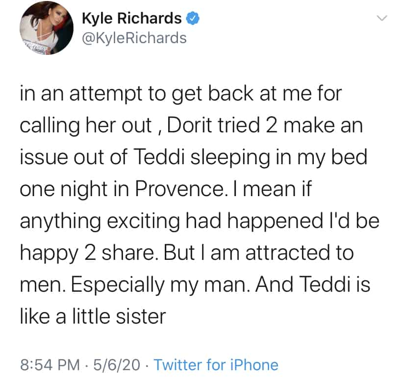 RHOBH Kyle Richards Claims Dorit Kemsley Was Trying to Start Rumor About Her and Teddi Mellencamp Sleeping Together