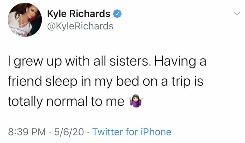 RHOBH Kyle Richards Says Sleeping in Bed With Friends is Normal
