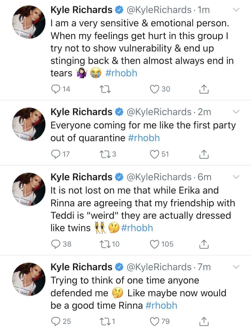RHOBH Kyle Richards Slams Lisa Rinna for Not Defending Her and Poking Fun of Teddi Mellencamp Friendship