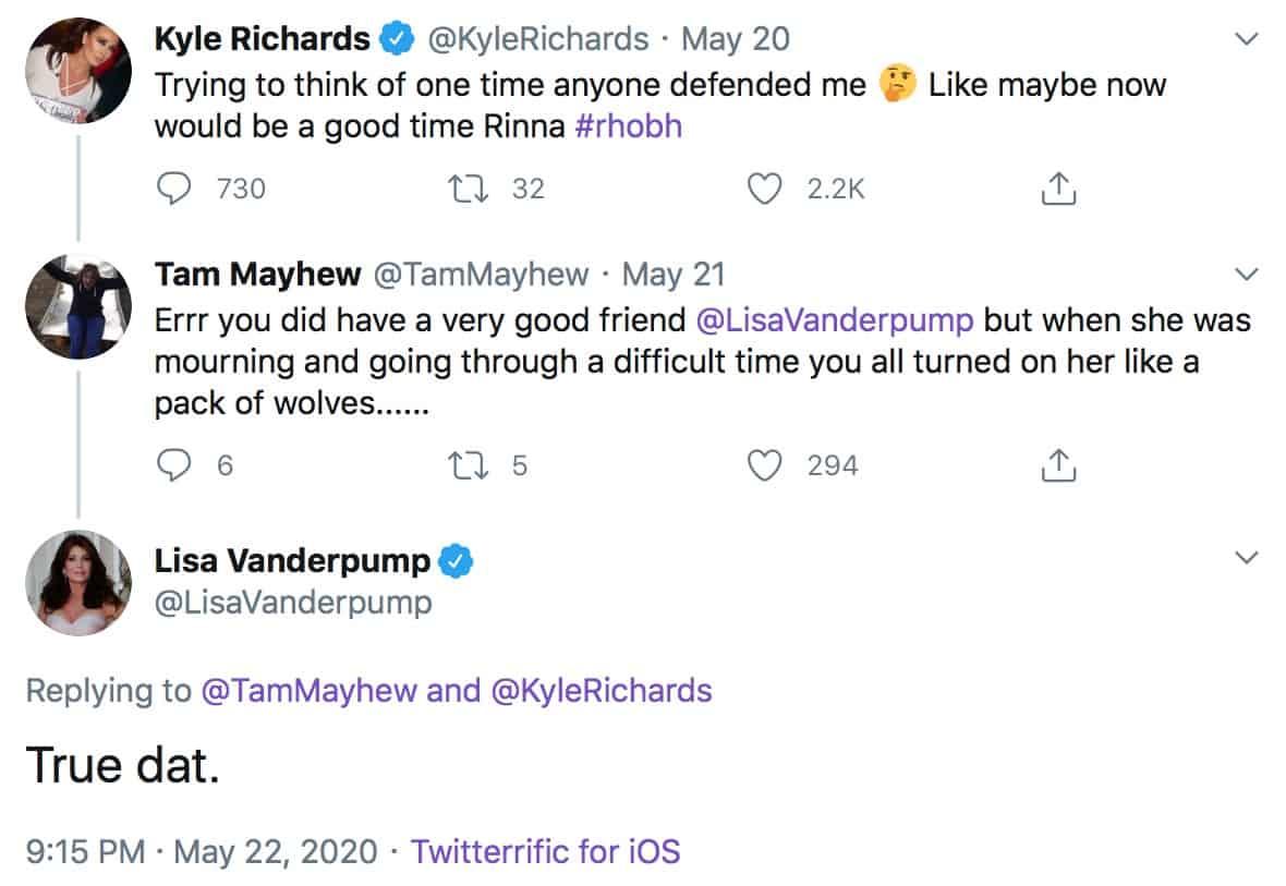 RHOBH Lisa Vanderpump Agrees That Kyle Richards Wasn't a Good Friend