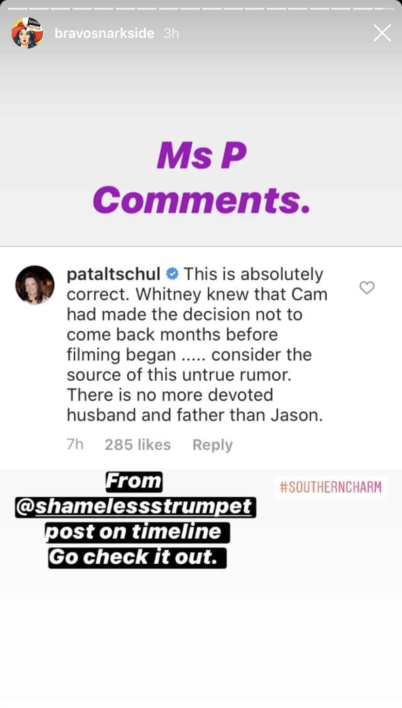 Southern Charm Patricia Altschul Reacts to Jason Wimberly Cheating Rumors