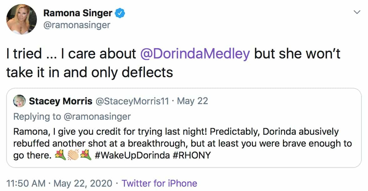 RHONY Ramona Singer Accuses Dorinda Medley of Deflecting