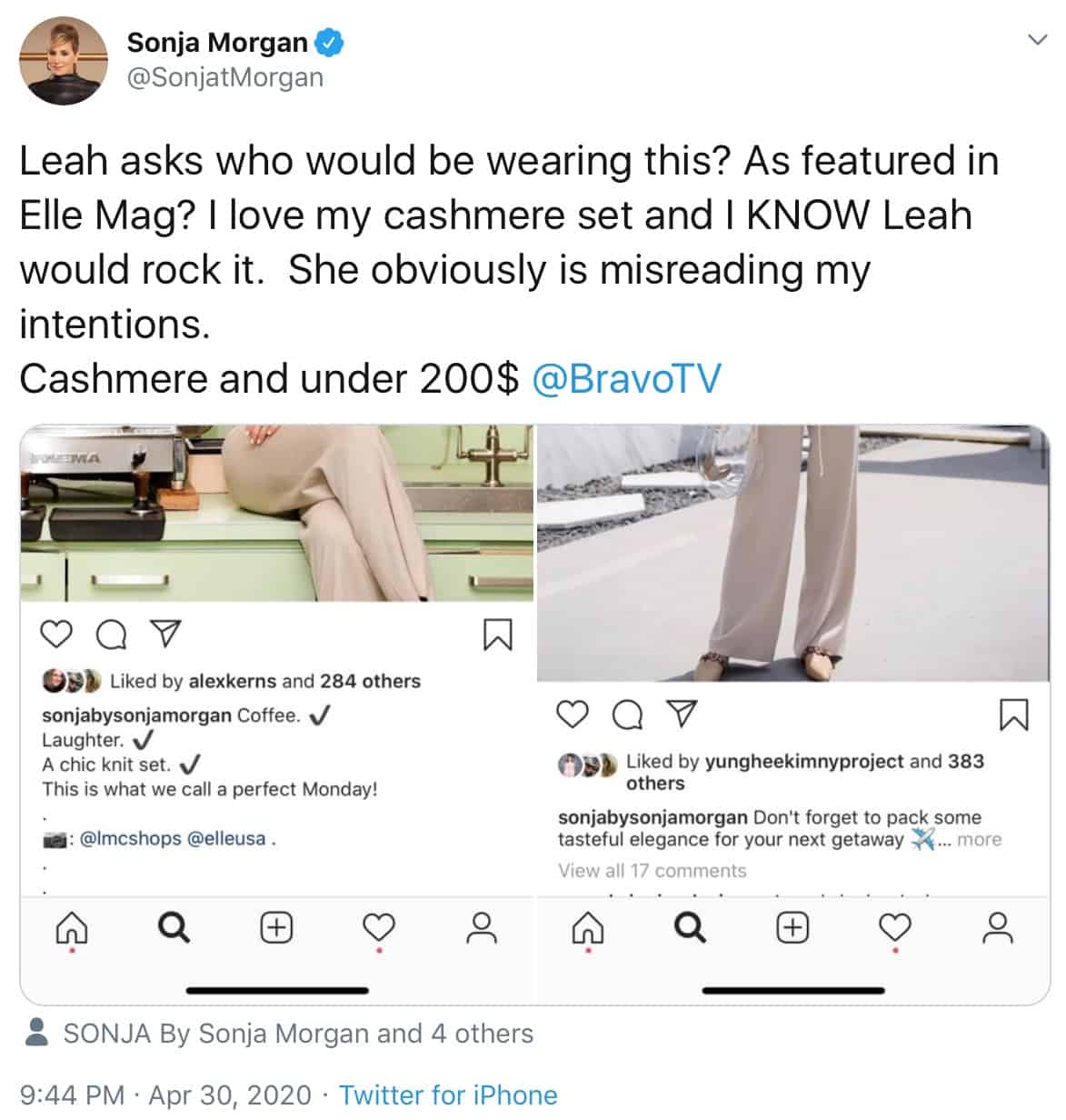 RHONY Sonja Morgan Calls Out Leah McSweeney for Clothing Line Shade