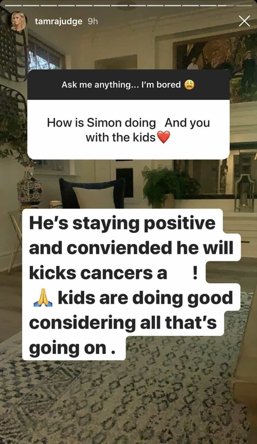 RHOC Tamra Judge Says Simon Barney is Trying to Beat Cancer