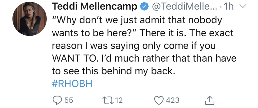 Teddi Mellencamp Reacts to RHOBH Cast Not Wanting to Attend Her Event