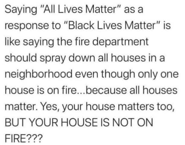 All Lives Matter Comment to Black Lives Matter Movement