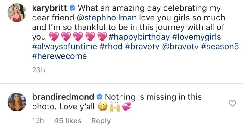 Brandi Redmond Jokes About Being Missing From RHOD Cast Photo