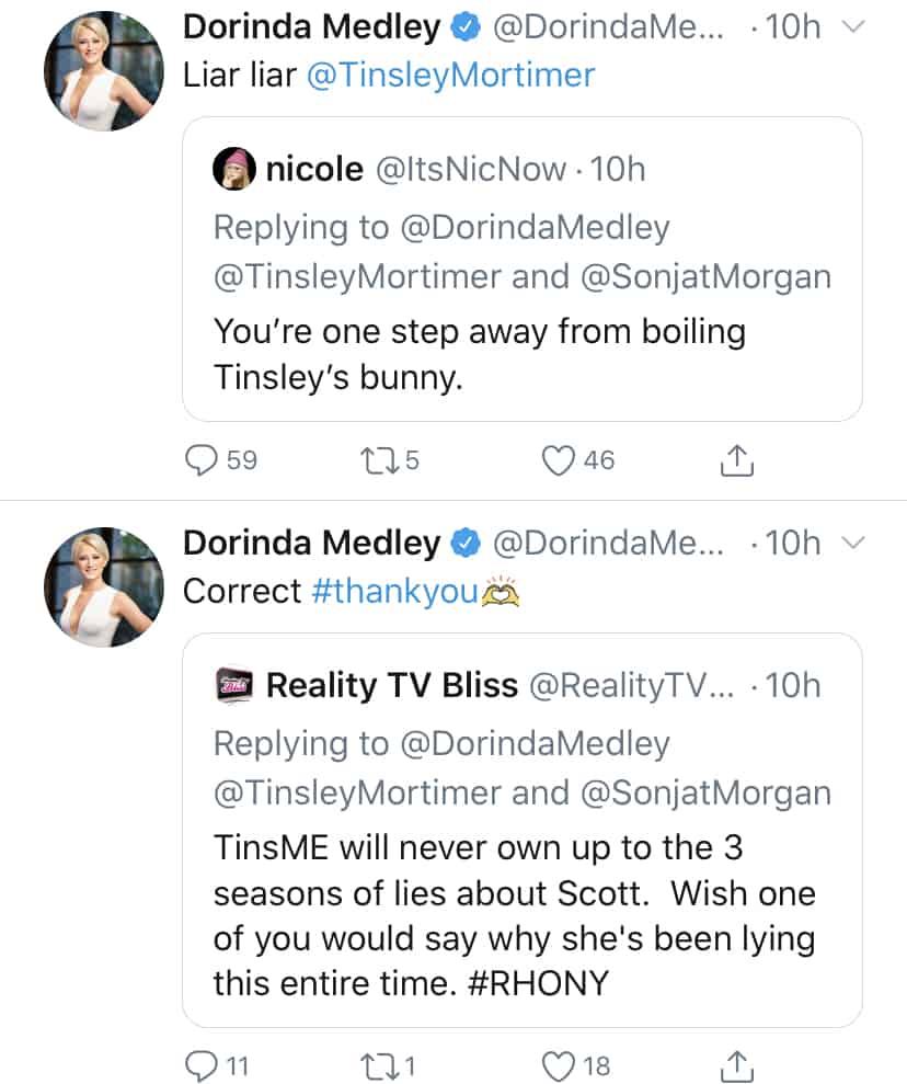 Dorinda Medley Slams Tinsley Mortimer for RHONY Lies