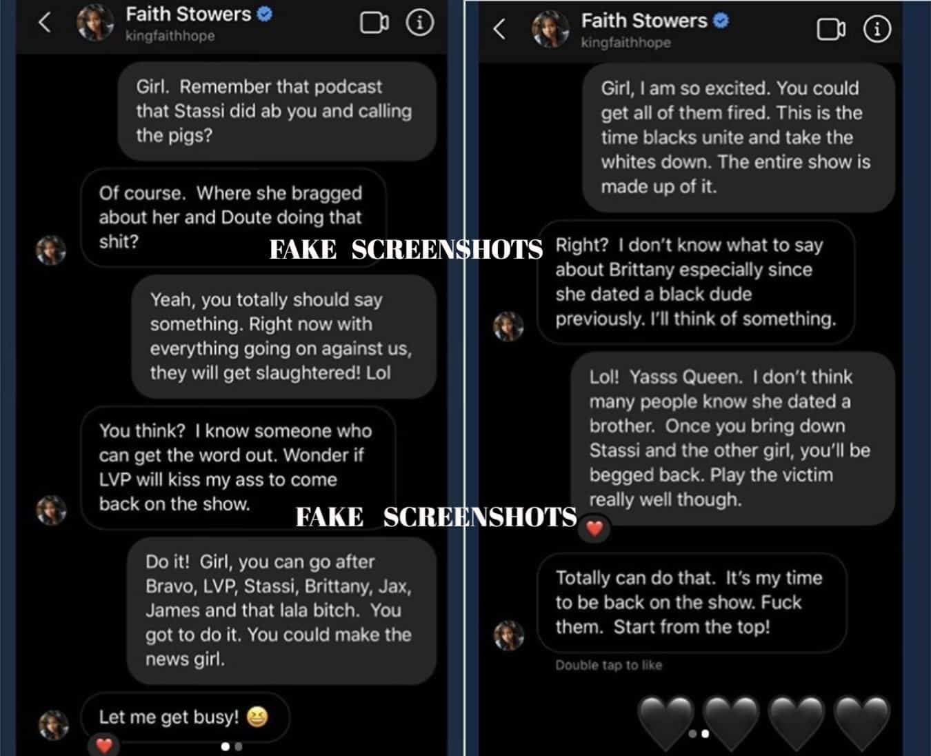 Fake Screenshots of Faith Stowers showing plot to take down Stassi Schroeder