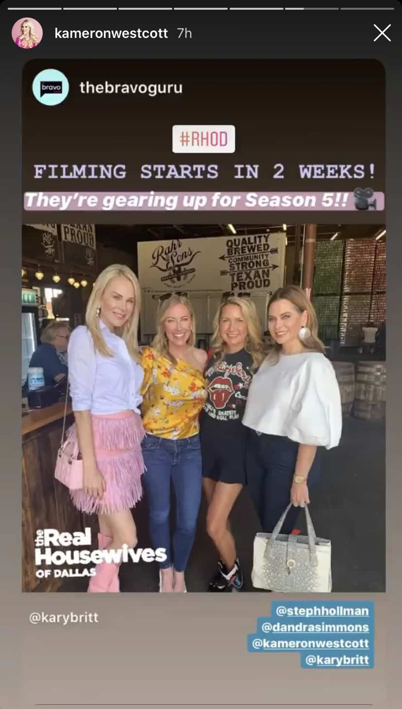 RHOD Kameron Westcott Confirms Filming on RHOD Season Five Starts in Two Weeks