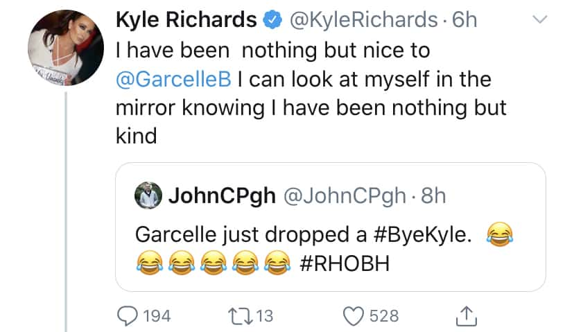 RHOBH Kyle Richards Insists She's Been Nothing But Kind to Garcelle Beauvais