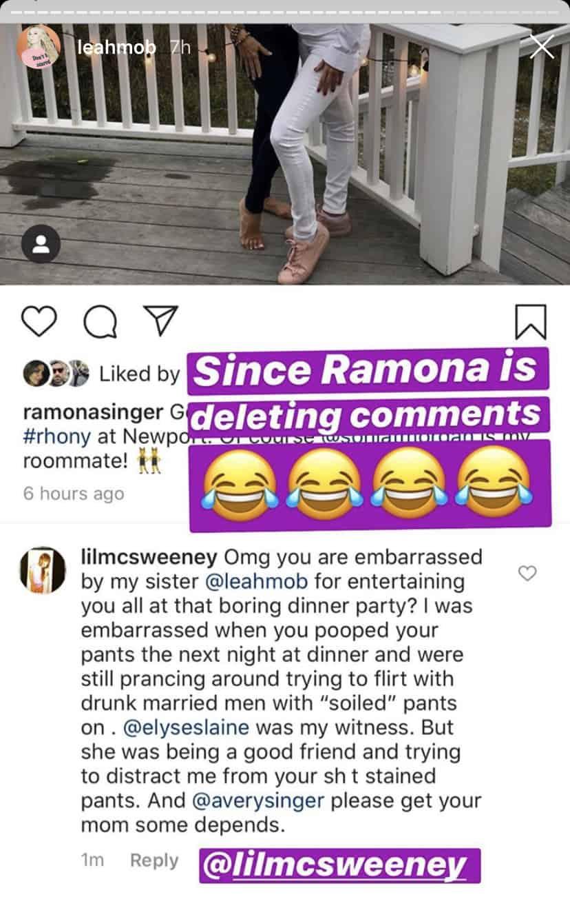 RHONY Leah McSweeney's Sister Blasts Ramona Singer for Pooping Pants