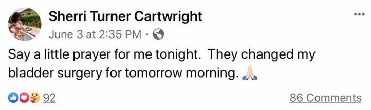 Sherri Cartwright Confirms Bladder Surgery Before ICU