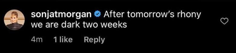 Sonja Morgan Reveals RHONY is Taking Two Weeks Off
